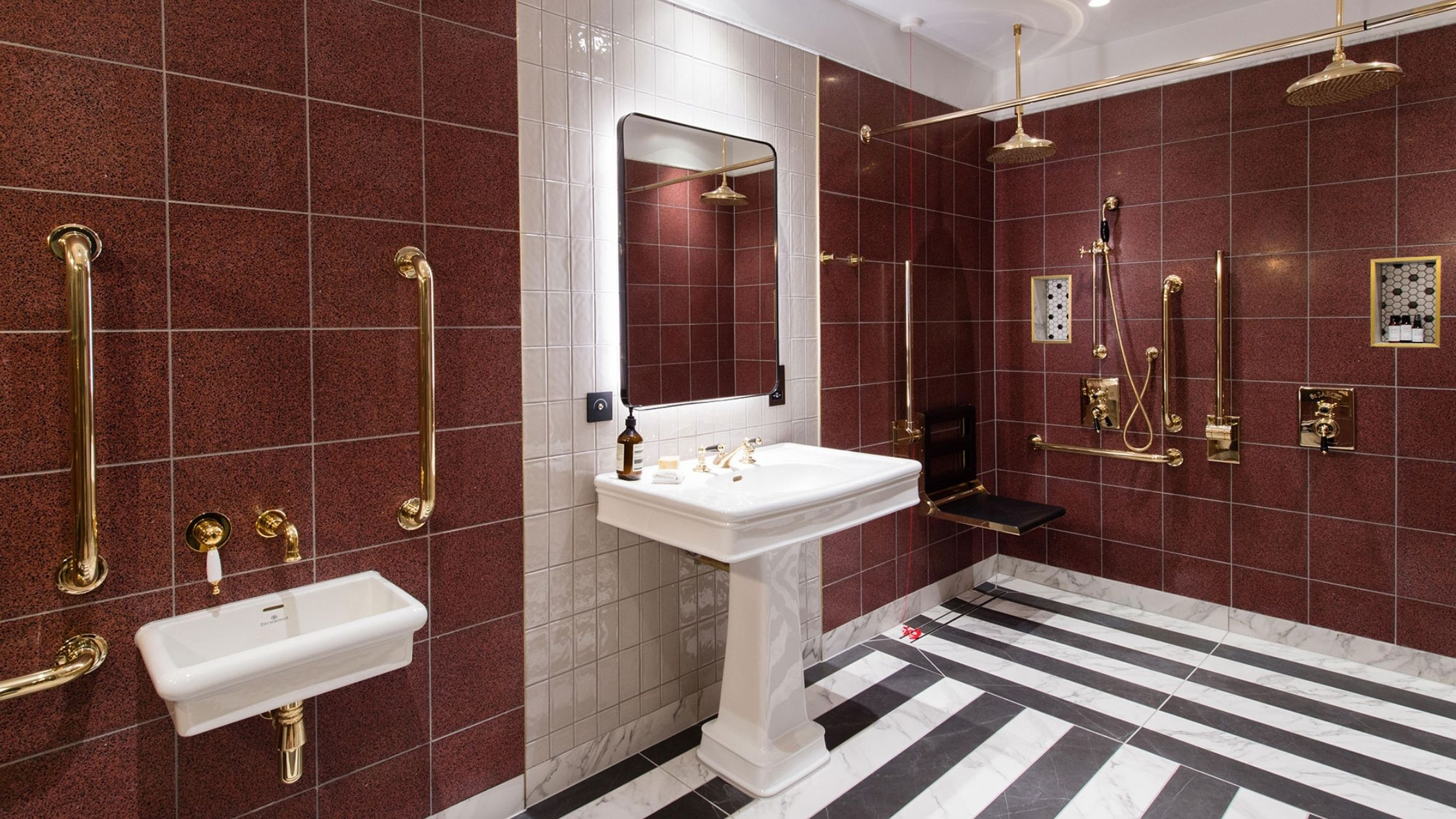 New Drum Street Maroon Black & White Tiles Washroom
